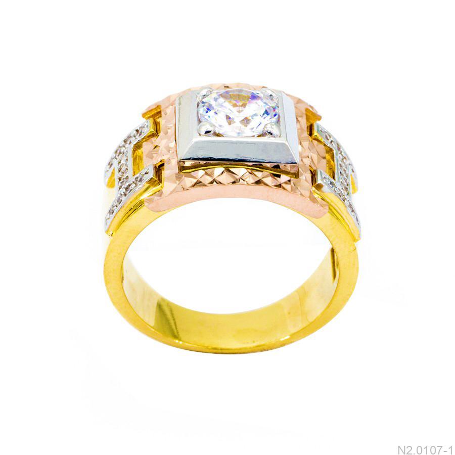 Nhẫn Nam Chữ H Vàng Ba Màu 18k Đá Trắng - N2.0107-1