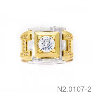 Nhẫn Nam Chữ H Vàng Hai Màu 18k Đá Trắng - N2.0107-2