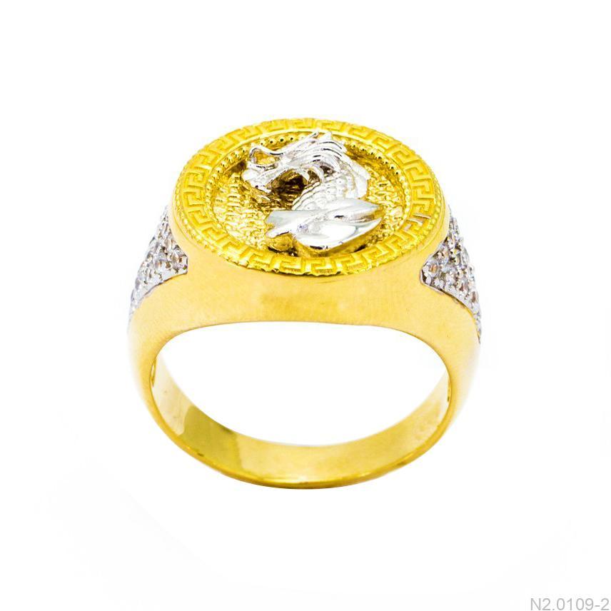N2.0109-2 nhẫn nam mặt rồng vàng trắng