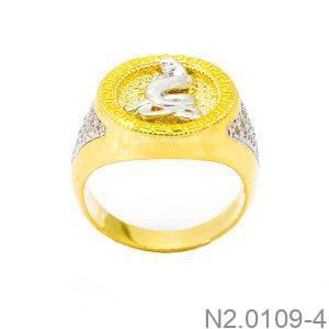 Nhẫn Nam Con Rắn Vàng Hai Màu 18k - N2.0109-4