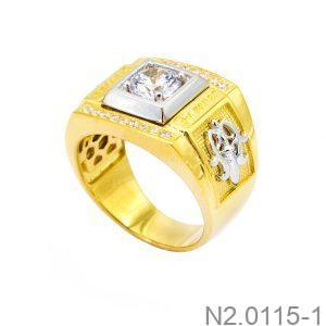 Nhẫn Nam Hai Màu Vàng 18k Đá Trắng - N2.0115-1