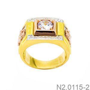 Nhẫn Nam Hai Màu Vàng 18k Đá Trắng - N2.0115-2