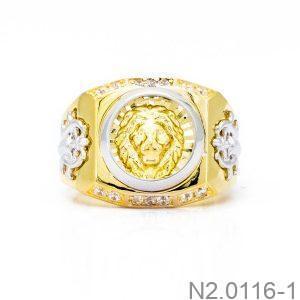 Nhẫn Nam Sư Tử Vàng Hai Màu 18k - N2.0116-1