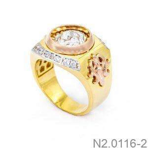 Nhẫn Nam Sư Tử Vàng Hai Màu 18k - N2.0116-2
