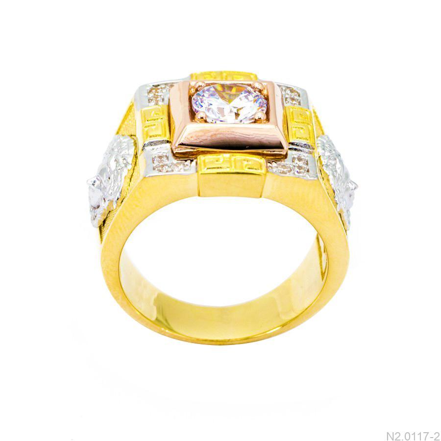 Nhẫn Nam Versace Vàng Hai Màu 18k Đá Trắng - N2.0117-2