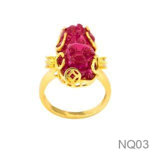 Nhẫn Nữ Tỳ Hưu Vàng 18K Đính Đá CZ - NQ03
