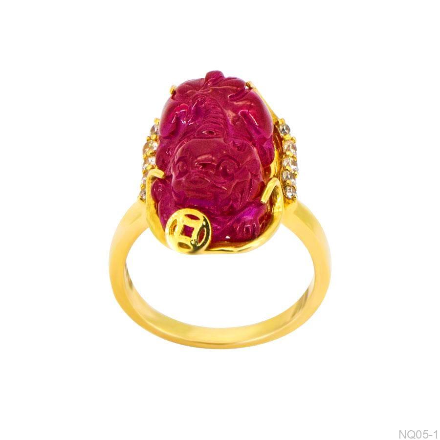 Nhẫn Nữ Tỳ Hưu Vàng 18K Đính Đá CZ - NQ05-1