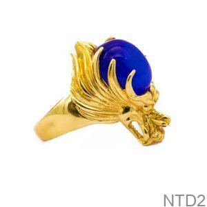 Nhẫn Nam Rồng Vàng Vàng 18K Đá Xanh Dương - NTD2