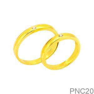 Nhẫn Cưới Vàng Vàng 18K Đính Đá CZ - PNC20