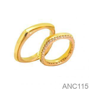 Nhẫn Cưới Hai Màu Vàng 18K Đính Đá CZ - ANC115
