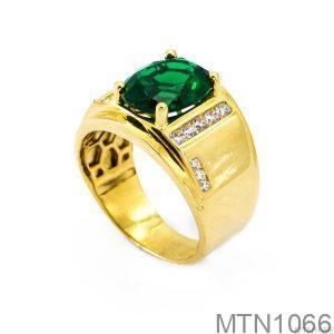Nhẫn Nam Vàng Vàng 18K Đá Xanh Lục - MTN1066