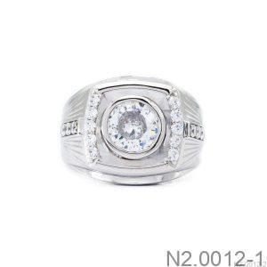 Nhẫn Nam Vàng Trắng 10K Đá Trắng - N2.0012-1