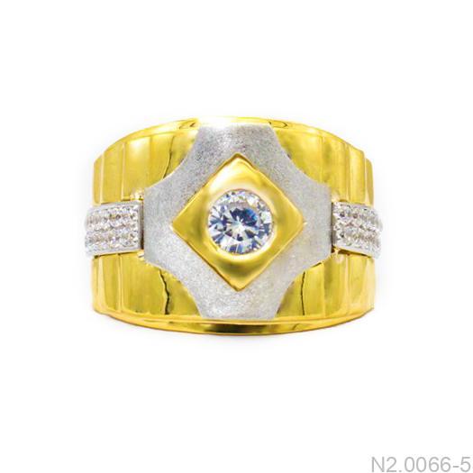 Nhẫn Nam Hai Màu Vàng 18k Đá Trắng - N2.0066-5