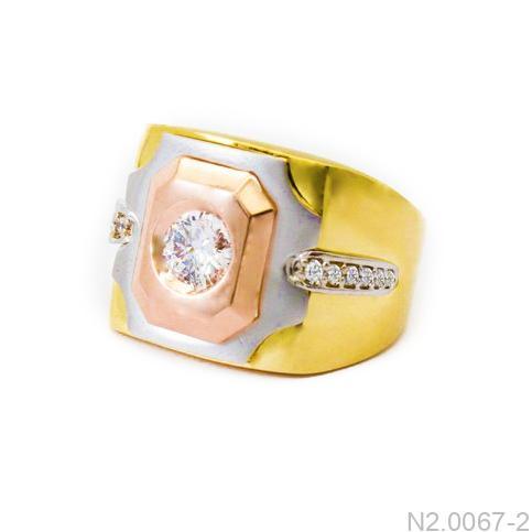 Nhẫn Nam Ba Màu Vàng 18k Đá Trắng - N2.0067-2