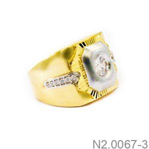 Nhẫn Nam Hai Màu Vàng 18k Đá Trắng - N2.0067-3