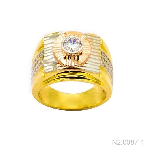Nhẫn Nam Ba Màu Vàng 18k Đá Trắng - N2.0087-1