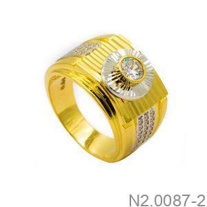 Nhẫn Nam Hai Màu Vàng 18k Đá Trắng - N2.0087-2