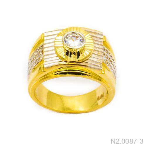 Nhẫn Nam Hai Màu Vàng 18k Đá Trắng - N2.0087-3