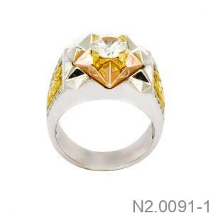 Nhẫn Nam Ba Màu Vàng 10k Đá Trắng - N2.0091-1