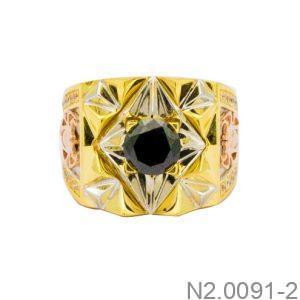Nhẫn Nam Hai Màu Vàng 10k Đá Đen - N2.0091-2