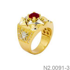 Nhẫn Nam Hai Màu Vàng 10k Đá Đỏ - N2.0091-3