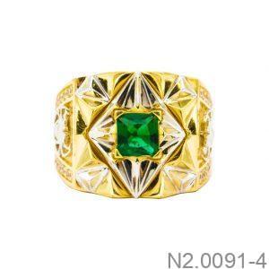 Nhẫn Nam Hai Màu Vàng 10k Đá Xanh Lục - N2.0091-4