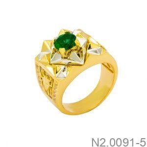 Nhẫn Nam Vàng Vàng 10k Đá Xanh Lục- N2.0091-5