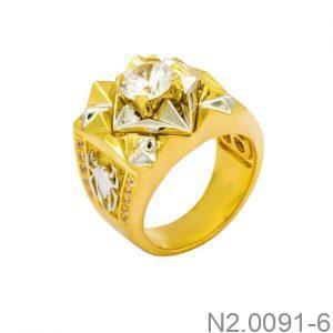 Nhẫn Nam Hai Màu Vàng 10k Đá Trắng - N2.0091-6