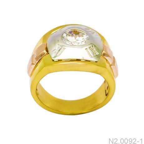 Nhẫn Nam Ba Màu Vàng 10k Đá Trắng - N2.0092-1