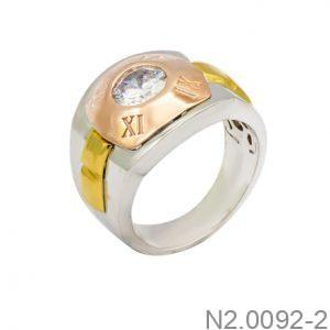 Nhẫn Nam Ba Màu Vàng 10k Đá Trắng - N2.0092-2