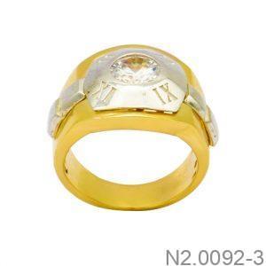 Nhẫn Nam Hai Màu Vàng 10k Đá Trắng - N2.0092-3