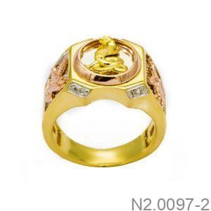 Nhẫn Nam Rắn Vàng Hai Màu 10k - N2.0097-2