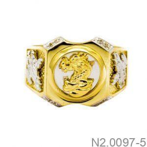 Nhẫn Nam Rồng Vàng Hai Màu 10k - N2.0097-5