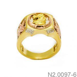 Nhẫn Nam Rồng Vàng Hai Màu 10k - N2.0097-6