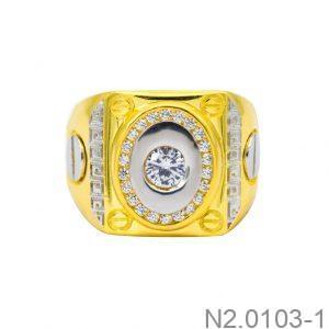 Nhẫn Nam Hai Màu Vàng 10k Đá Trắng - N2.0103-1