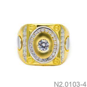 Nhẫn Nam Hai Màu Vàng 10k Đá Trắng - N2.0103-4