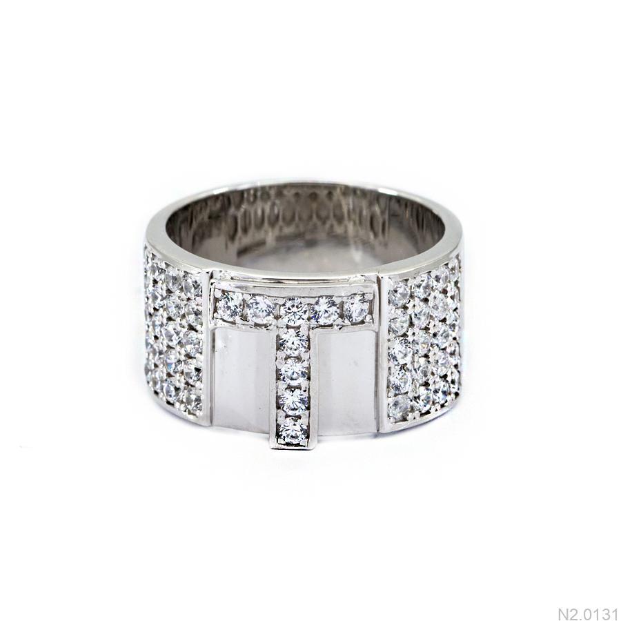 N2.0131-2 Nhẫn nam vàng trắng 10k chữ T