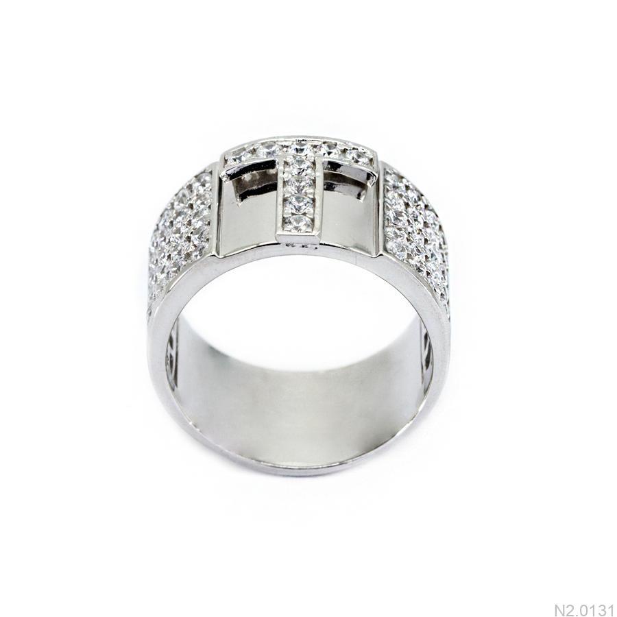 N2.0131 Nhẫn nam vàng trắng 10k chữ T