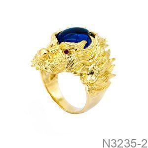 Nhẫn Nam Rồng Vàng Vàng 18k Đá Xanh Dương - N3235-2