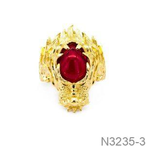 Nhẫn Nam Rồng Vàng Vàng 18k Đá Đỏ - N3235-3
