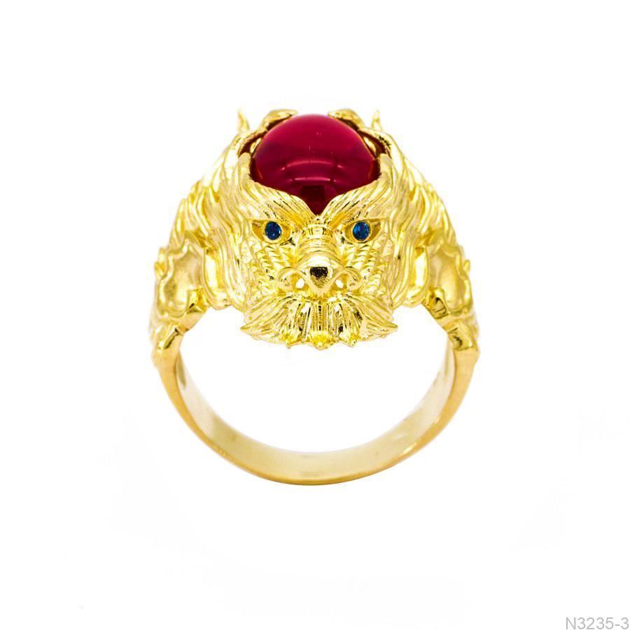 N3235-3 Nhẫn nam rồng vàng 18k đá đỏ APJ