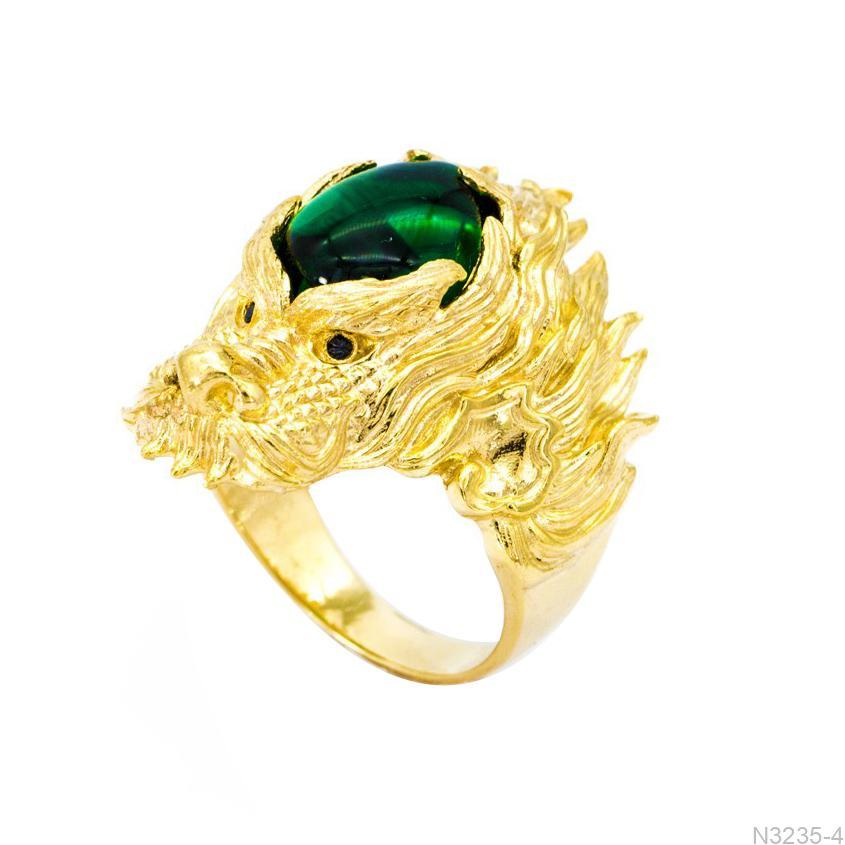 N3235-4-1 Nhẫn nam rồng vàng 18k đá xanh lục APJ