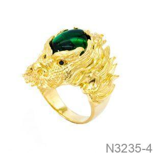 Nhẫn Nam Rồng Vàng Vàng 18k Đá Xanh Lục - N3235-4