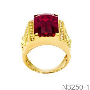 Nhẫn Nam Ngựa Vàng Vàng 18K Đá Đỏ - N3250-1