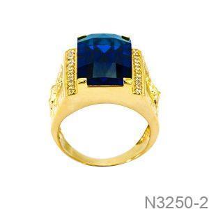 Nhẫn Nam Ngựa Vàng Vàng 18K Đá Xanh Dương - N3250-2
