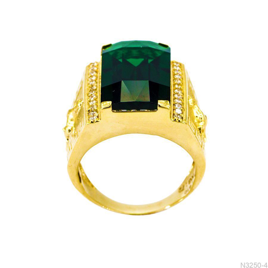 Nhẫn Nam Ngựa Vàng Vàng 18K Đá Xanh Lục - N3250-4