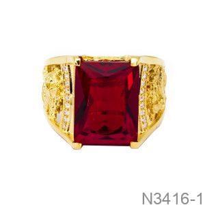 Nhẫn Nam Rồng Vàng Vàng 18K Đá Đỏ - N3416-1