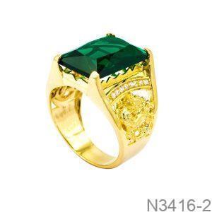 Nhẫn Nam Rồng Vàng Vàng 18K Đá Xanh Lục - N3416-2