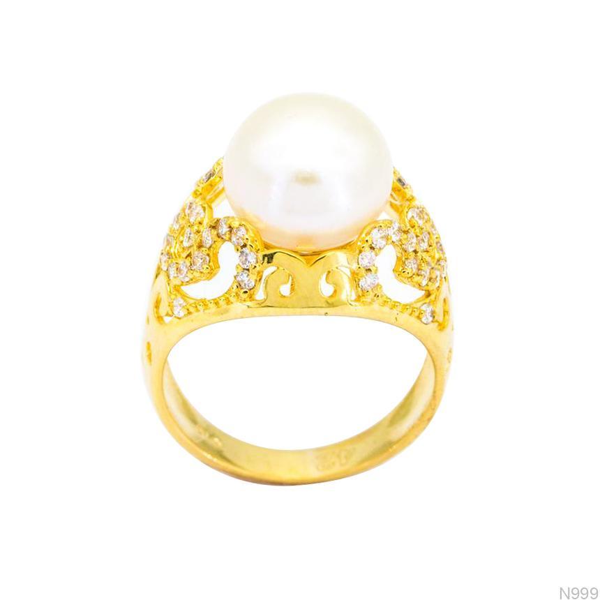 Nhẫn Nữ Ngọc Trai Vàng 18k Đính Đá CZ - N999