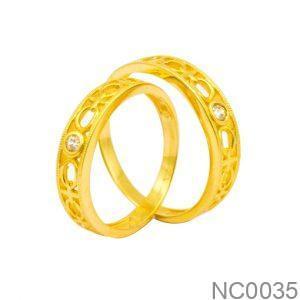 Nhẫn Cưới Vàng Vàng 18K Đính Đá CZ - NC0035